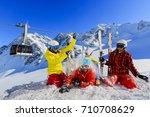 happy family enjoying winter... | Shutterstock . vector #710708629