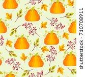 seamless pattern autumn | Shutterstock .eps vector #710708911