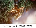 christmas fir tree  bow for the ... | Shutterstock . vector #710710771