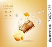 gold caviar collagen serum and... | Shutterstock .eps vector #710714779