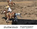 charro on horseback with lair...   Shutterstock . vector #710722057
