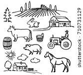 farm. hand drawn set.   Shutterstock .eps vector #710731129