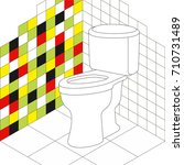 vector toilet room with white... | Shutterstock .eps vector #710731489