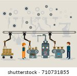automated factory assembly line ... | Shutterstock .eps vector #710731855
