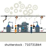 automated factory assembly line ... | Shutterstock .eps vector #710731864