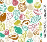 pattern with vector exotic... | Shutterstock .eps vector #710732851