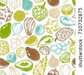 pattern with vector exotic... | Shutterstock .eps vector #710732875