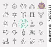 religion line icon set | Shutterstock .eps vector #710733355