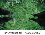 male and female feet in rubber... | Shutterstock . vector #710736469