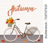 autumn hand drawn lettering.... | Shutterstock .eps vector #710737315