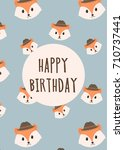 postcard with cute animal faces ... | Shutterstock .eps vector #710737441