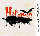 scary halloween text with... | Shutterstock .eps vector #710737621