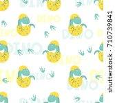 cute little dinosaur in egg... | Shutterstock .eps vector #710739841