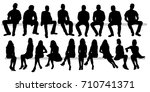 isolated set of silhouettes of ... | Shutterstock . vector #710741371