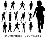 set boy playing silhouette | Shutterstock . vector #710741851