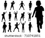 set boy playing silhouette | Shutterstock . vector #710741851
