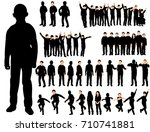 set of silhouettes of children ... | Shutterstock . vector #710741881