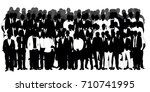 crowd of silhouettes of men... | Shutterstock . vector #710741995
