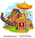 happy children riding in... | Shutterstock .eps vector #710747941
