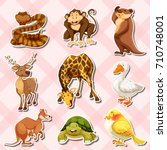 sticker set with reptiles and... | Shutterstock .eps vector #710748001