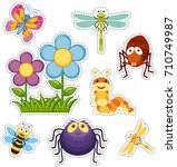 sticker set with flowers and...   Shutterstock .eps vector #710749987