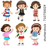 cute girls with happy face... | Shutterstock .eps vector #710750029