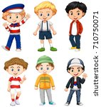 six boys in different costume... | Shutterstock .eps vector #710750071