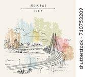 bandra worli sealink  rajiv... | Shutterstock .eps vector #710753209