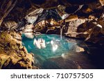 icelandic mountain cave with... | Shutterstock . vector #710757505