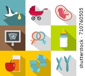 newborn accessories icon set.... | Shutterstock .eps vector #710760505