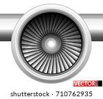 turbines of an aircraft engine... | Shutterstock .eps vector #710762935