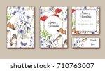 watercolor hand drawn wedding... | Shutterstock . vector #710763007