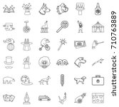 zoo icons set. outline style of ... | Shutterstock .eps vector #710763889
