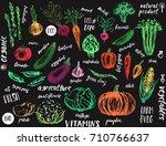 hand drawn vegetables.... | Shutterstock .eps vector #710766637