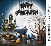 halloween background with... | Shutterstock . vector #710769499