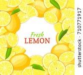 lemon white round frame. card... | Shutterstock . vector #710771917