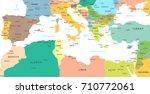 mediterranean sea map  ... | Shutterstock .eps vector #710772061