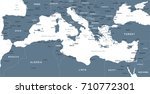 mediterranean sea map  ... | Shutterstock .eps vector #710772301