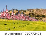 Many Us American Flags Flying...