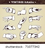 set of vintage hands. retro...