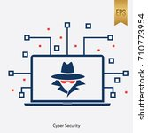cyber security icon vector flat ... | Shutterstock .eps vector #710773954