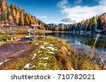 picturesque sunny scene of... | Shutterstock . vector #710782021
