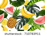 seamless vector tropical ... | Shutterstock .eps vector #710783911