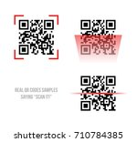 vector illustration of qr code... | Shutterstock .eps vector #710784385