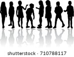 vector silhouette of children... | Shutterstock .eps vector #710788117
