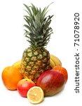 Tropical fruits isolated on white background. - stock photo