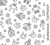robot seamless pattern. tiling... | Shutterstock .eps vector #710792419