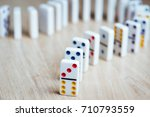 Dominos On Wooden Background