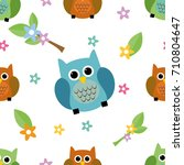 seamless tiling cute and... | Shutterstock . vector #710804647