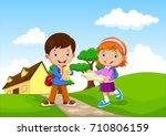 happy school kids go to school | Shutterstock . vector #710806159